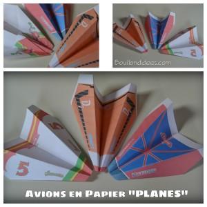 Avions en papier à l'effigie des héros du film Planes