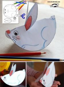 DIY bricolage Pâques, lapin à bascule assiette carton Bouillon d'idées