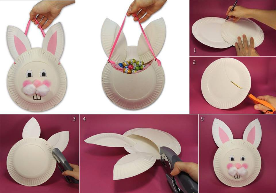 Christmas decorations using construction paper - Diy Bricolage P 226 Ques Panier Lapin Assiette Carton