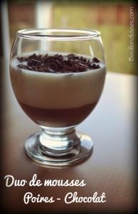 Mousse Duo de mousses poires chocolat  sans GLO Bouillondidees
