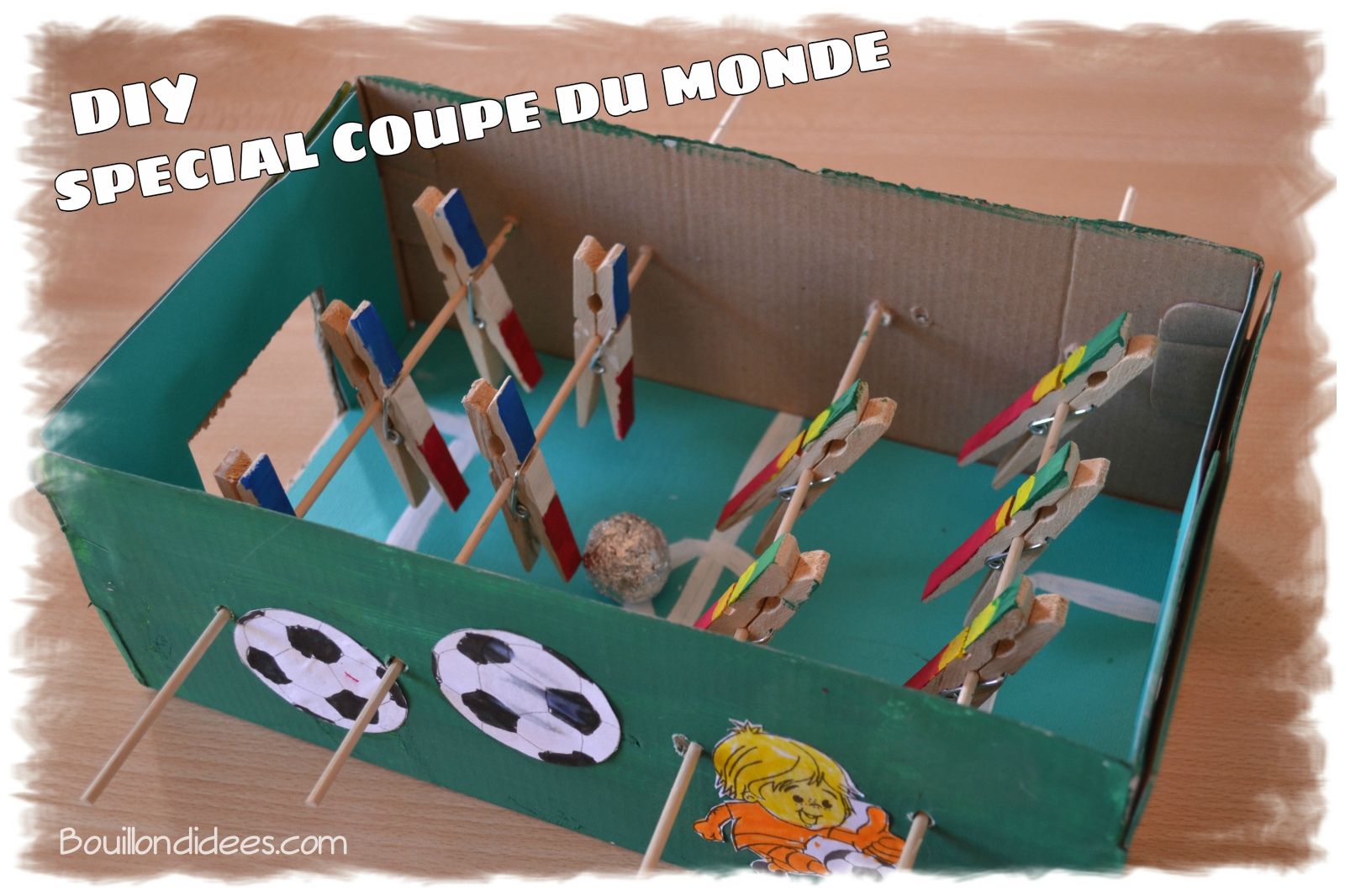 diy sp cial coupe du monde fabriquer un mini baby foot. Black Bedroom Furniture Sets. Home Design Ideas