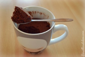 Mug cake tout choco, chocolat, sans GLO, gluten, lait, PLV, oeuf 2 Bouillondidees
