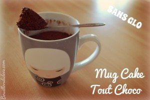 Mug cake tout choco, chocolat, sans GLO, gluten, lait, PLV, oeuf Bouillondidees