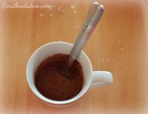 Mug cake tout choco, chocolat, sans GLO, gluten, lait, PLV, oeuf Mélange2Bouillondidees