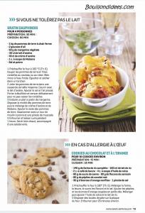 Santé Vie Pratique dossier intolérances alimentaires (gluten, lait, oeuf) recettes 3 Bouillondidees