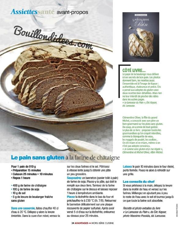 Avantages Hors Serie Sans gluten, sans Lactose & cie Recette pain eric Kayser