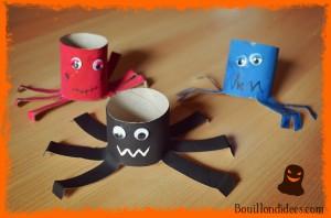 Monstres araignées rouleau papier toilette DIY Halloween Bouillondidees