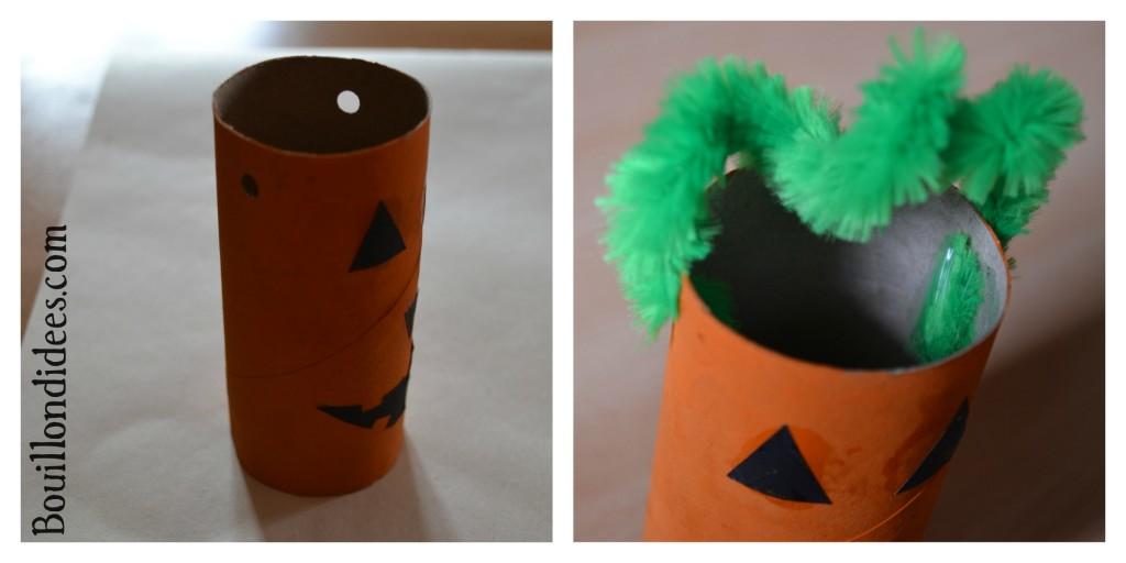 Monstres en tubes DIY rouleau papier toilette Citrouille Halloween Bouillondidees