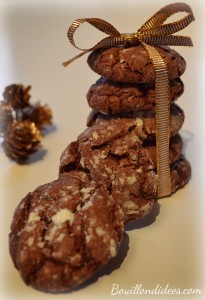 Crinkles sans GLO, biscuits croustimoelleux black& white pour Noel Bouillondidees