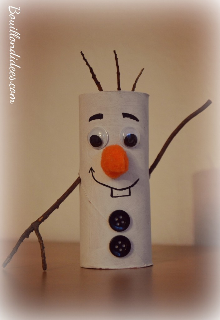 DIY Noël, bonhomme de neige Olaf reine des neiges en rouleau papier toilette Bouillondidees