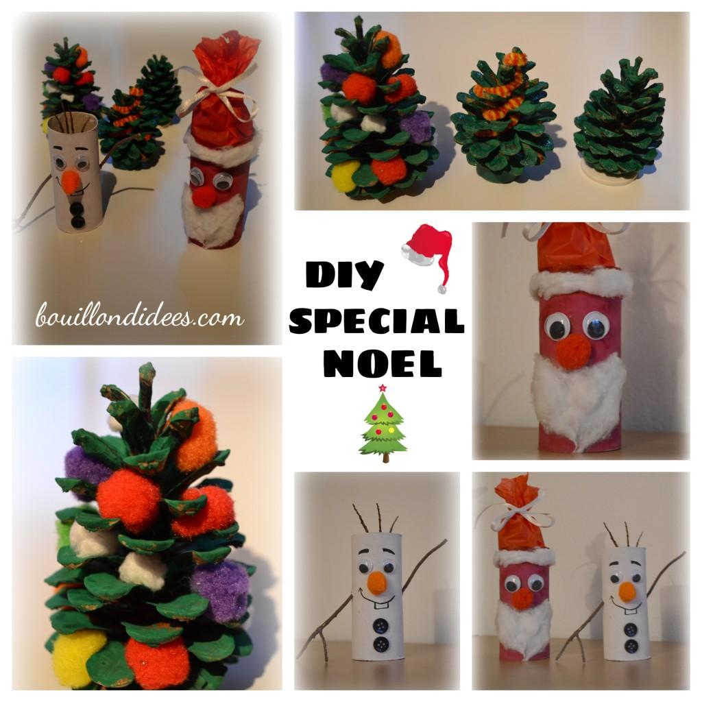 DIY Noël, père Noël bonhomme de neige Olaf pomme pin sapin en rouleau papier toilette Bouillondidees