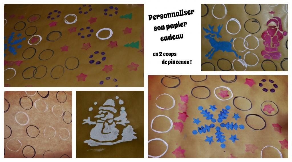 DIY Noël personnaliser le papier cadeau papier kraft tampons maison Bouillondidees