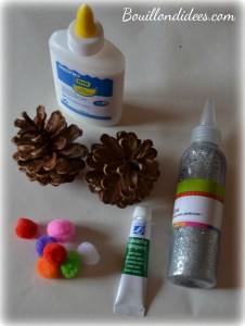 DIY Noël, sapin en pomme de pin matériel Bouillondidees