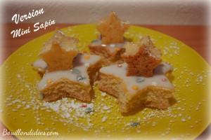 Génoise montée en étoiles sapin dessert pour Noël sans GLO (gluten, lait, oeuf) mini sapin Bouillondidees