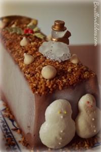 bûche mousse glacée au chocolat dessert réveillon Noël - parfait -sans gluten, sans lait, sans blanc d'oeuf côté Bouillondidees