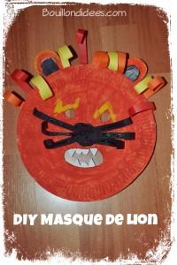 DIY Masque Lion Carnaval fête avec assiette carton Bouillondidees