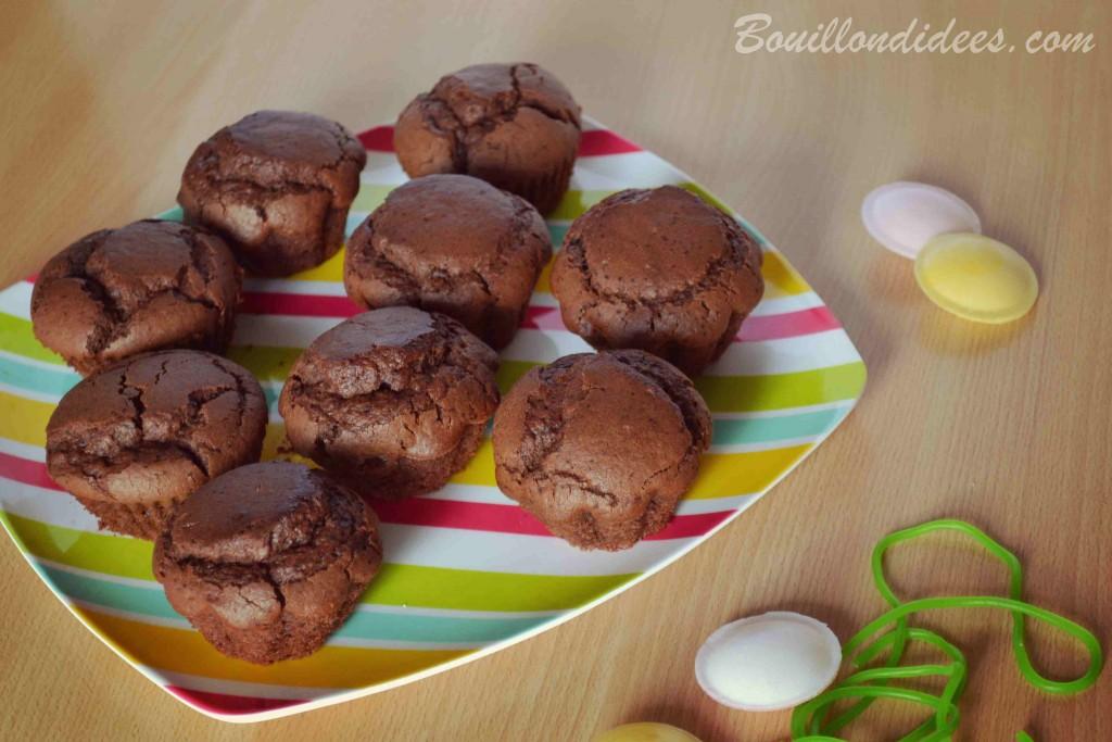 Muffins tout choco sans GLO (sans gluten, sans lait - lactose ou PLV, sans oeufs), vegan