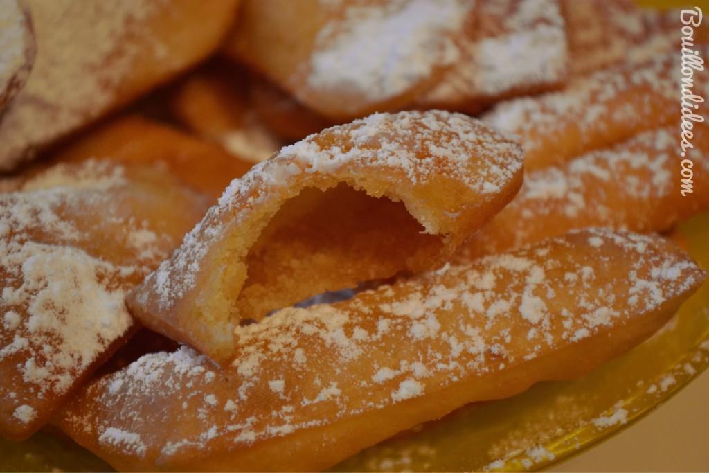 Bugnes sans GLO carnaval beignets sans GLO gluten lait oeuf (coupe) Bouillondidees