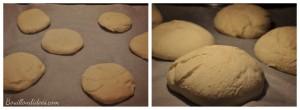 Pitas petits pains sandwich buns sans GLO (gluten, lait, oeuf)  four Bouillondidees
