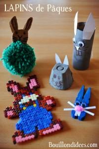 DIY Paques Lapins (pompon, boîte oeuf, rouleau) Bouillondidees