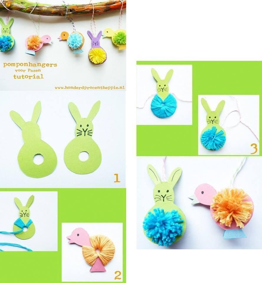 Diy bricolage p ques lapins gogo - Poussin en pompon ...