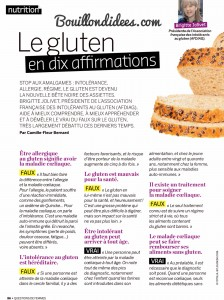 Question de Femmes magazine article sans gluten 1