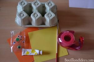 DIY Paques Poussins boîte à oeufs alvéole matériel Bouillondidees
