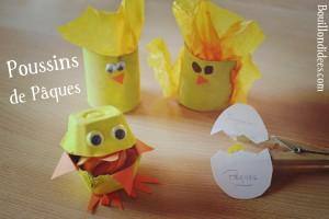 DIY Paques Poussins (boîte oeuf, rouleau, pince à linge) Bouillondidees