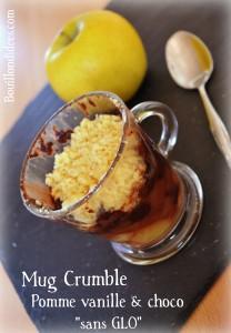 Mug crumble pomme vanille choco sans GLO (gluten, lait, oeuf) Bouillondidees