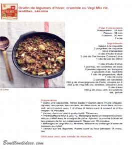 Test produit Lima Vegi Mix mélange céréales sans glo (recette3) Bouillondidees