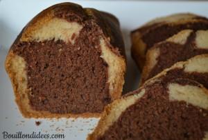 Marbré choco vanille sans GLO (sans gluten, sans lait, sans oeuf) gateau Bouillondidees