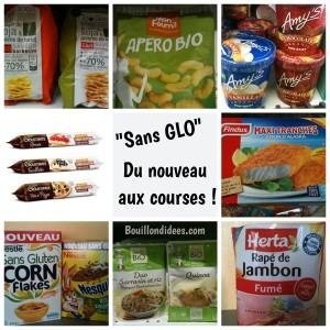 Nouveaux produits sans GLO (sans gluten, lactose, ni,oeuf...) au supermarché Bouillondidees