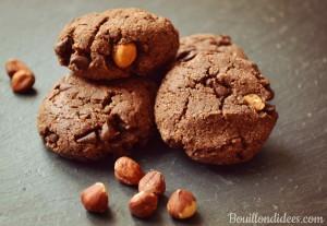 Cookies double choco & noisettes (sans GLO - sans gluten, sans lait - PLV ou Lactose, sans oeuf) Bouillondidees