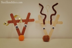 DIY déco sapin Noël bâtonnet de bois ou glace : Rudolph le renne du père Noël
