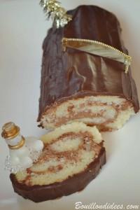 Bûche de Noël roulée au chocolat sans GLO (sans gluten, sans lait, sans PLV, sans Lactose, sans oeuf)