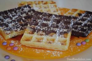 gaufres marbrées choco-vanille sans GLO (sans gluten, sans lait, sans oeuf) mardi gras foire Bouillondidees