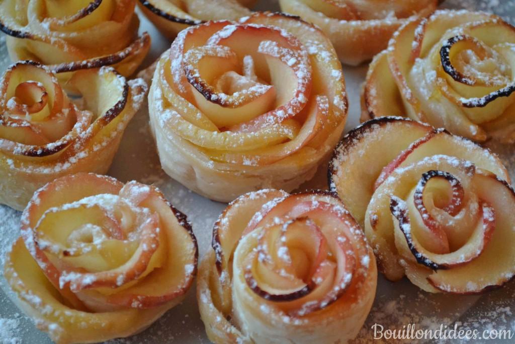 Roses feuilletées aux pommes (tartelettes avec ou sans gluten sans PLV sans Lactose)