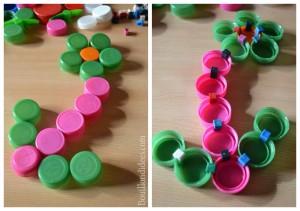 Clip It (jeu avec bouchons recyclés) fleur Bouillondidees