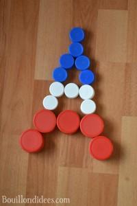 Clip It (jeu avec bouchons recyclés) tour effeil Bouillondidees