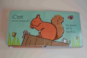Livres à toucher premiers livres bébé Où est mon écureuil (éditions Usborne) Bouillondidees 2