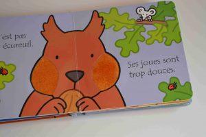 Livres à toucher premiers livres bébé  Où est mon écureuil (éditions Usborne) Bouillondidees2