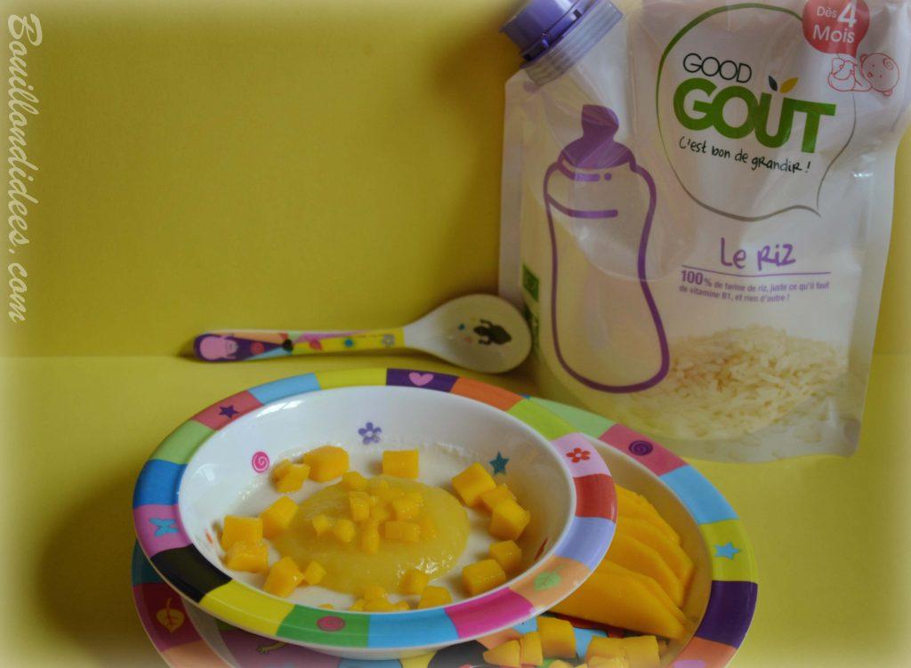 Porridge por-riz-dge à la mangue et céréales de riz Good Gout recette bébé (Modilac riz, bébé APLV IPLV) Bouillondidees