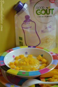 Porridge por-riz-dge mangue lait céréales de riz Good Gout (Modilac riz, bébé APLV IPLV) recette bébé Bouillondidees