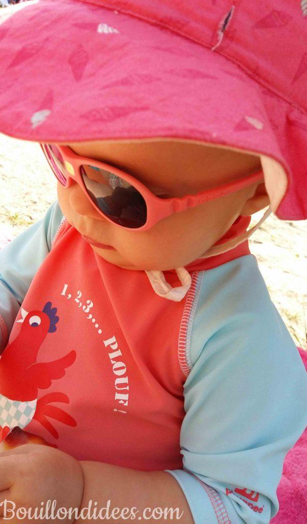 Profiter été avec bébé baignade maillot anti UV Piwapee soleil chapeau et lunettes Ki et La Jokapi Bouillondidees