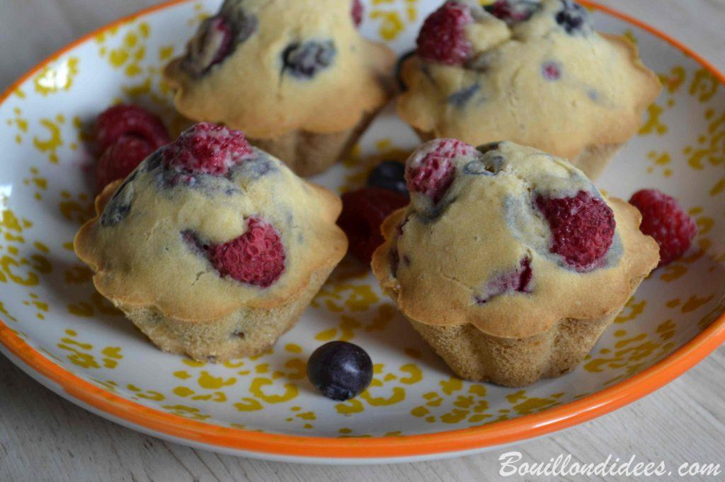 Muffins aux fruits rouges sans GLO (sans gluten, sans lait, sans œuf) - recette sans allergènes Bouillon d'idées