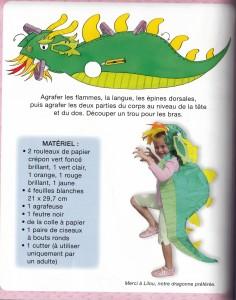 Déguisement Dragon (fille ou garçon) pour le carnaval (avec du papier crépon)