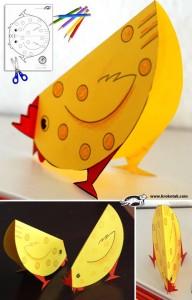 DIY bricolage Pâques, poule à bascule assiette carton Bouillon d'idées