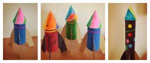Fusées avec rouleaux papier toilette et sopalin Tryptique Bouillondidees
