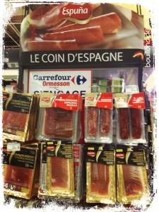 Magasin charcuterie jambon sans gluten Espuna, carrefour Bouillondidees