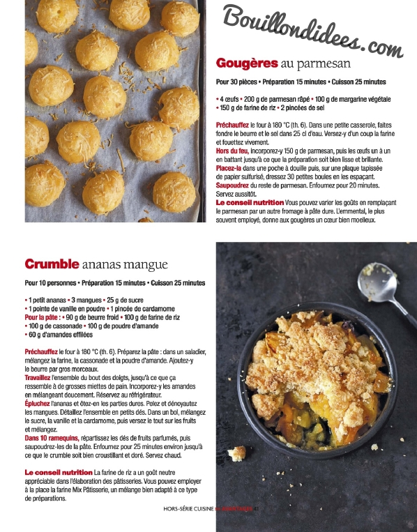 Avantages Hors Serie cuisine Sans gluten, sans Lactose & cie recettes salées Bouillondidees